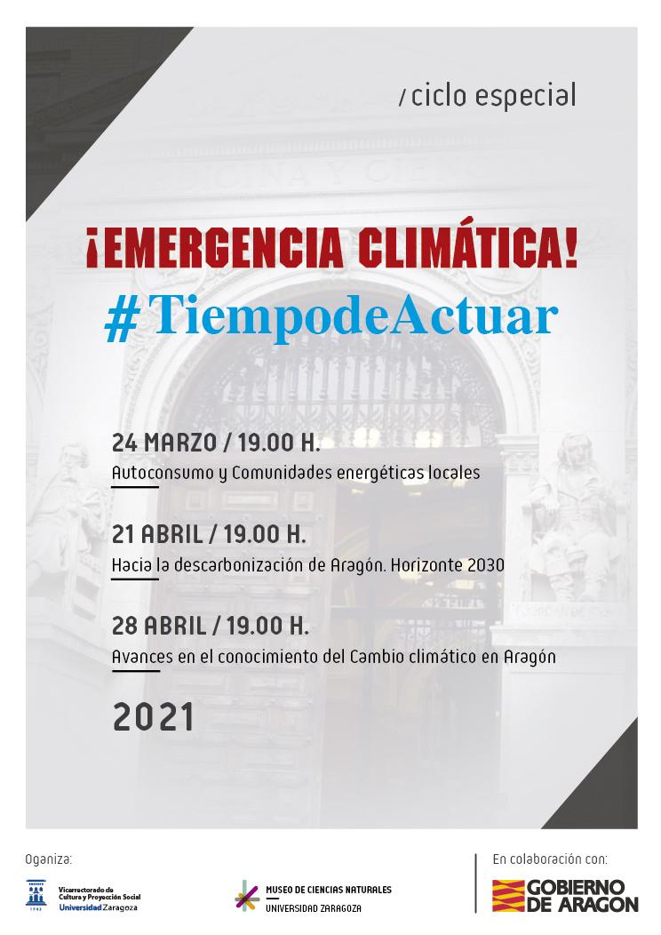 """""""¡Emergencia climática! #TiempodeActuar"""", nuevo ciclo especial de conferencias con la colaboración del Gobierno de Aragón"""
